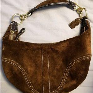 Brown suede Coach shoulder purse